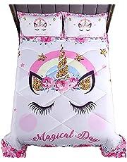 Kids Comforter Dinosaur Bedding Unicorn Comforter Set Race Car Bedding Set for Boys Girls Kids with 2 Pillowcases