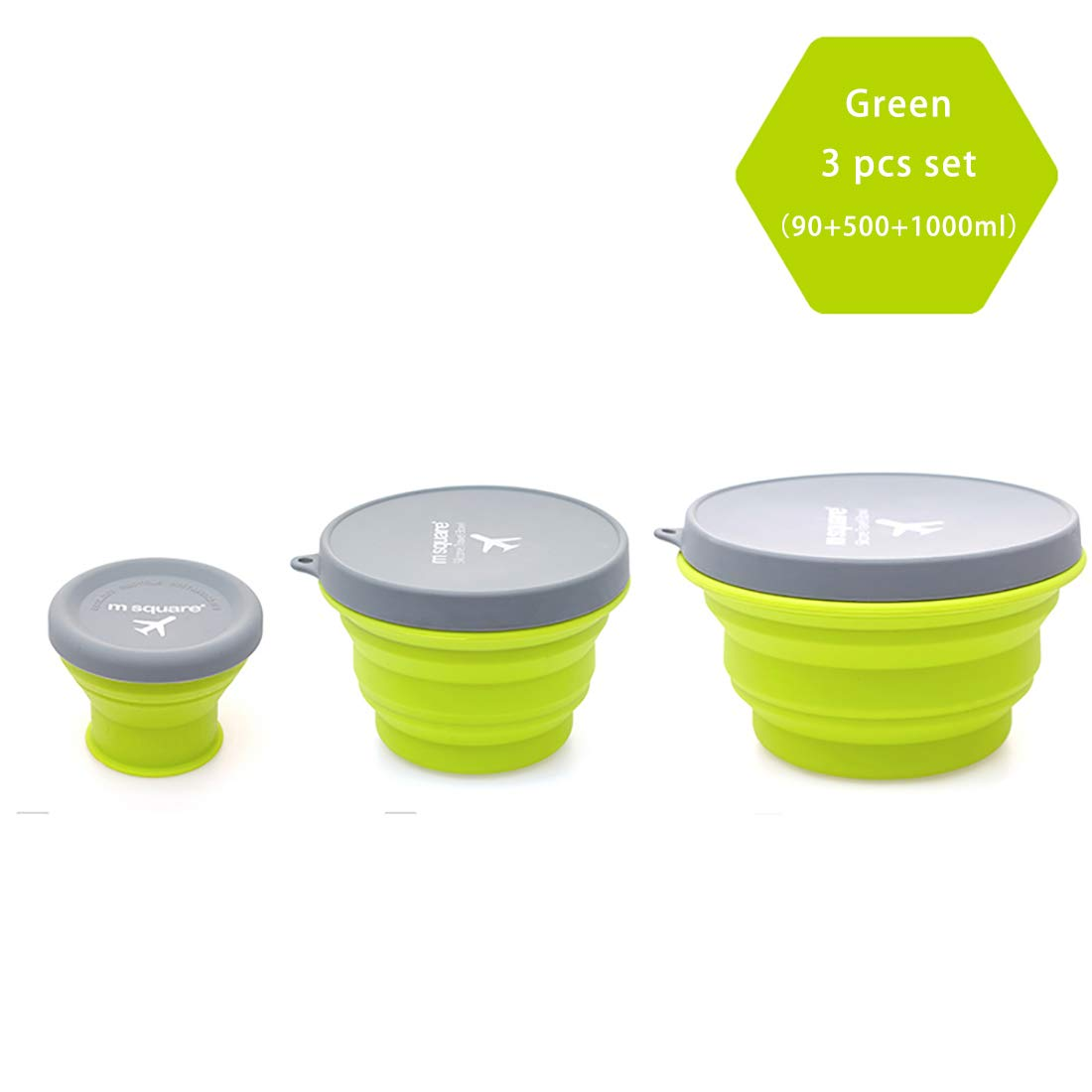 m square Collapsible Food Grade Silicone Bowls with Lids, BPA-free, Camping, Traveling, Pets, Hiking, Backpacking Bowl (3 pcs set Green)