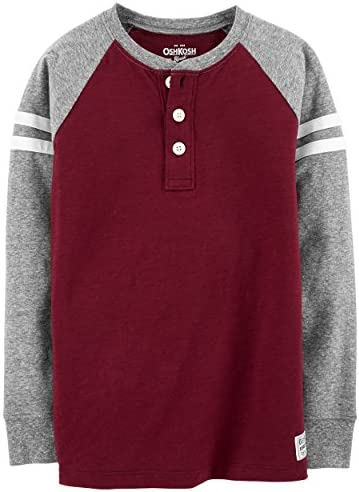 Carters Toddler Boys 3T Pullover Colorblock Henley Cotton Jersey top Burgundy and Gray Grey