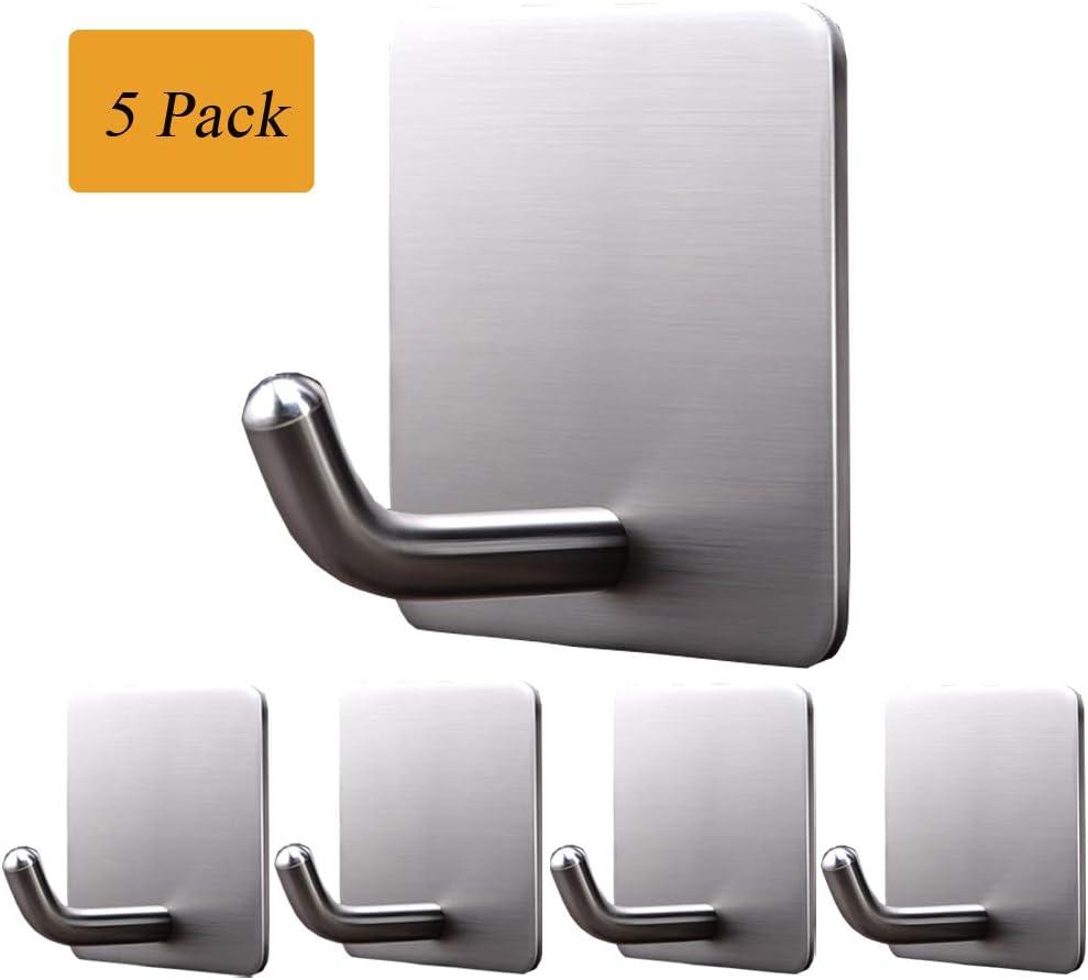 Self Adhesive Hooks, Removable Wall Hooks Heavy Duty, KoHuiJoo Stainless Steel Waterproof Hooks for Hanging Robe Coat Home Office Towel Kitchen Keys Bags