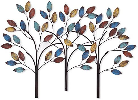 Asense Tree Leaf Metal Wall Art Sculptures Home Decor Tree of Life Wall Decoration Tree of Life 2