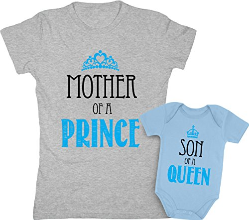 Mother of a Prince & Son of a Queen Mommy and Baby Boy Matching Set Shirt Bodysuit Clothing Baby 12M / Women Large, Women Gray/Baby Aqua