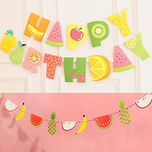 NiceLife Tutti Frutti Banner Kids 2nd Birthday Party Decoration Supplies