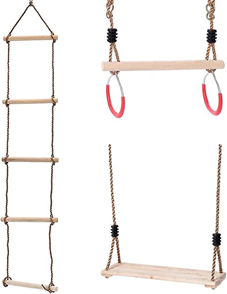 Kakiblin Kids Climbing Rope Ladder Trapeze Bar With Rings And Hanging Swings Seat Bundle Gymnastics Swing For Outdoor Swing Sets Backyard Play Sets Amazon Co Uk Kitchen Home