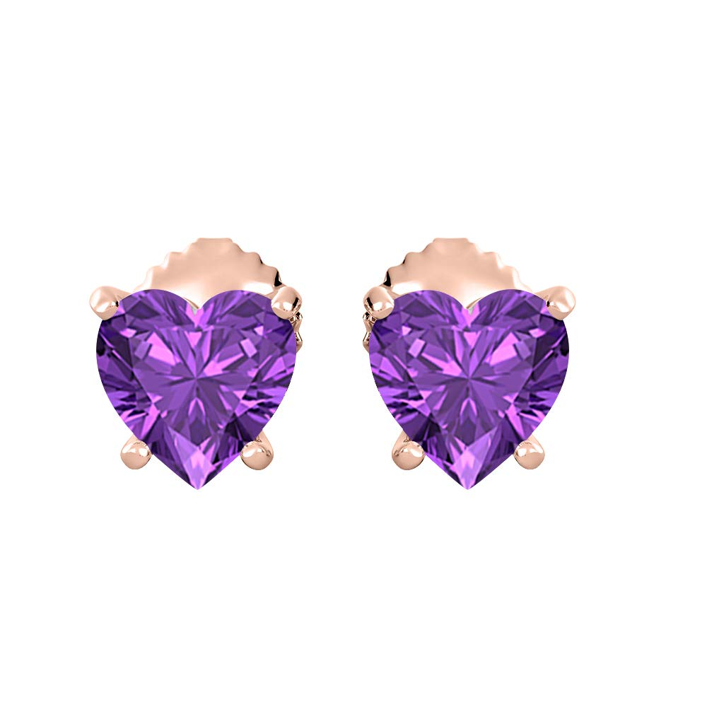 SVC-JEWELS Lovely Heart Shaped Gemstones Solitaire Stud Earrings 14K Rose Gold Over .925 Sterling Silver For Womens 7MM