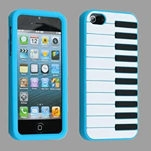 Blue Piano Keys Soft Gel Silicone Protector Case Cover For iPhone 5 5G