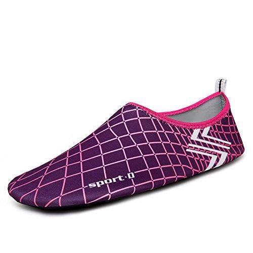 MAYZERO Men Women Water Shoes Barefoot Skin Shoes Quick Dry Aqua Socks Shoes For Beach Pool Swim Surfing Boating Yoga Purple&rose azpldxuEp