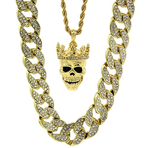 Crowned Skull Pendant - Mens 14k Gold Plated 15mm Iced Cz Miami Cuban 30