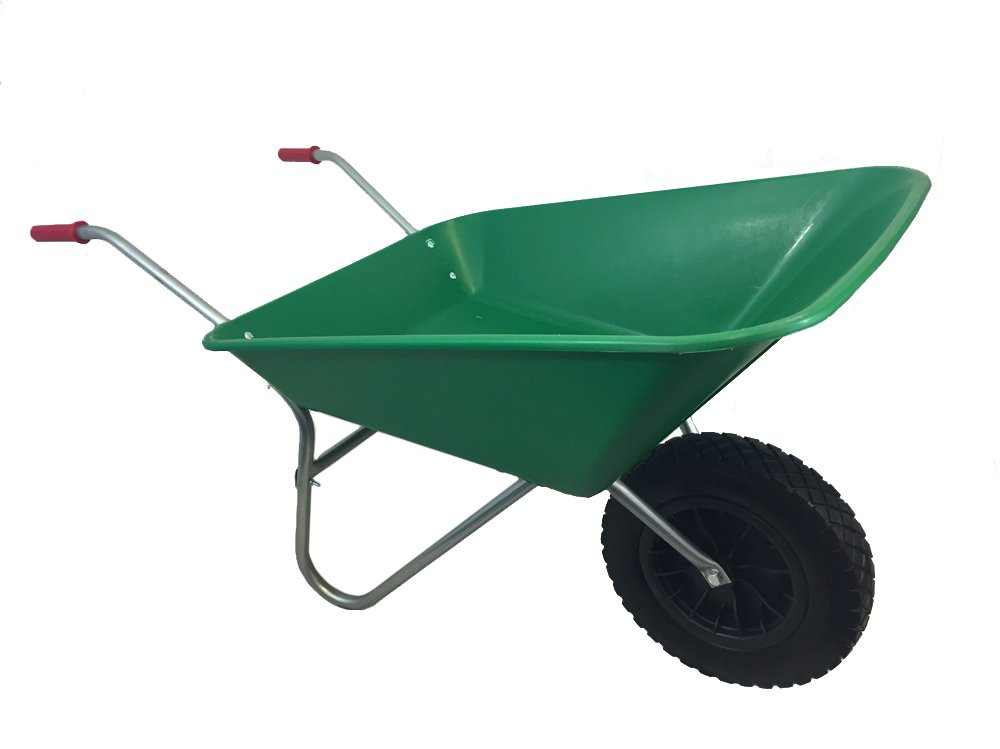 GREEN PLASTIC WHEELBARROW WITH PUNCTURE PROOF PU WHEEL