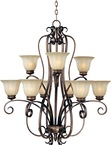 Maxim 22246WSPD Fremont 9-Light Chandelier, Platinum Dusk Finish, Wilshire Glass, MB Incandescent Incandescent Bulb , 60W Max., Dry Safety Rating, Standard Dimmable, Opal Glass Shade Material, Rated Lumens