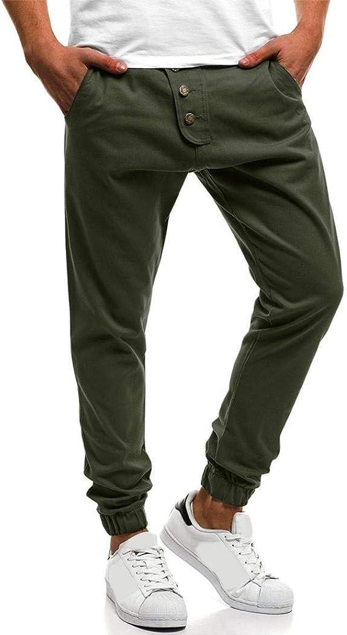 Pantalones De Hombre Deporte De De Botón Deporte Hombre Color Puro ...