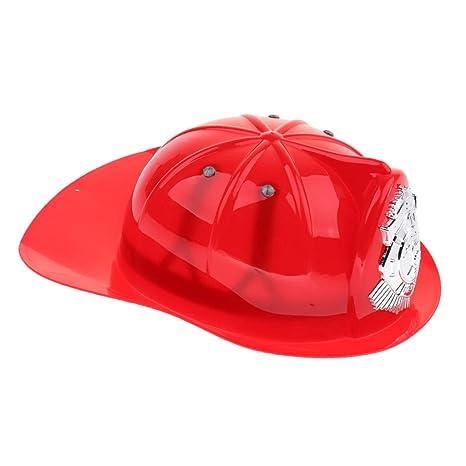 Sharplace Niño Juego De Simulación Fireman Jefe Casco De Seguridad Bombero Sombrero Cap Juguete - Rojo