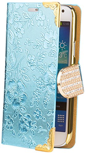 Samsung Galaxy S4 MINI   iCues Chrome Flower Wallet Light Blue   [Screen Protector Included] Floral Folio Flip Case Crystal Diamond Rhinestone Bling Glitter Women Girl - Samsung S4 Mini Case Female