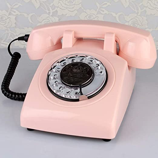 SJIADHJ Teléfono de sobremesa, teléfono Fijo Retro inalámbrico para el hogar del Hotel, Marcador Giratorio Rosa: Amazon.es: Hogar
