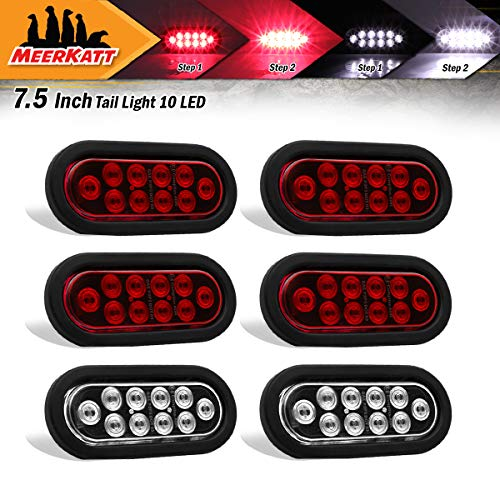"Meerkatt (Pack of 6) 6"" Oval 4 Red & 2 White Clearance Lamp Surface Mount Trailer Marker Bulb Flash Lights 10 LED w/Rubber & Plug for Bus SUV Truck Lorry ATV RV Camper Tow Dump 12v DC Shockproof UA12 - Oval Kit Fog Light"