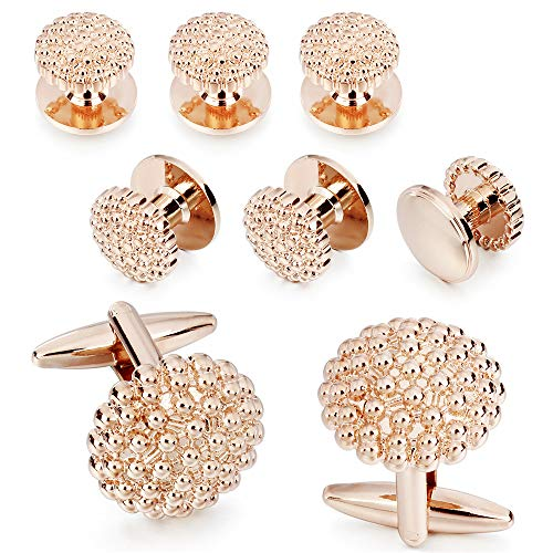 HAWSON Knot Cufflinks Tuxedo Studs Set for Men (Rose Gold Tone)
