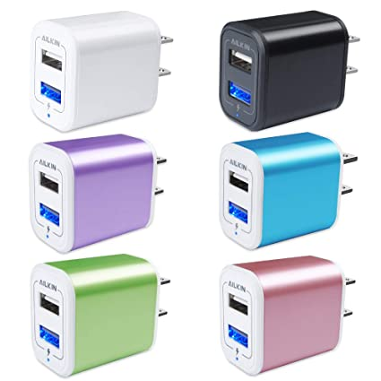 Charger Base, USB Brick, Ailkin 6Pack High Speed Charging Blocks USB Outlet Plug Charger Base Box Cube Plug Compatible with Phone, LG, Sony, Samsung, ...