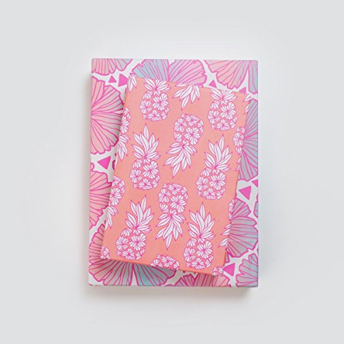 - Pretty Pineapple Blush/Pink-Peach Tropical Wrapping Paper (3-Sheets) - Double-Sided & Eco-Friendly Gift Wrap