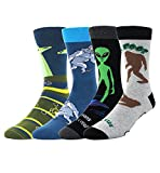 Zmart Mens Novelty Funny Crew Cotton Socks 4 Pack Crazy Cool Alien Sasquatch Weird Sock 4 Pack Gift Box