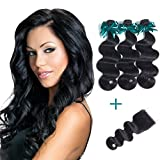 Brazilian Body Wave Virgin Hair 3 Bundles With Free Part Lace Closure 100% Unprocessed Human Hair Body Wave Bundles Natural Color(12 14 16 with 10 free)