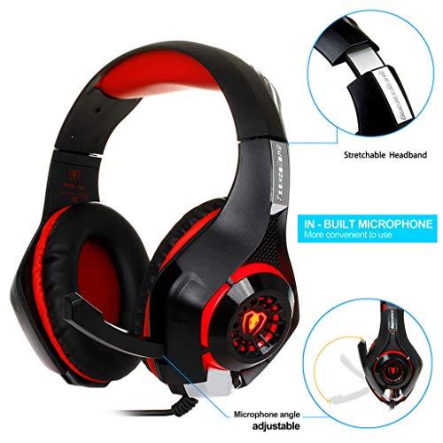 - Dreamyth- 3.5mm Gaming Headphone Headset Earphone Headband with Microphone LED Light (Red)