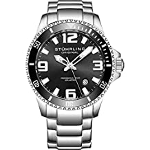 Stuhrling Original Mens Swiss Quartz Stainless Steel Sport Analog Dive Watch, Water Resistant 200 Meters, Black Dial, Aqua-diver 395.33B11