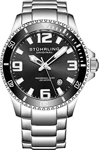 Stuhrling Original Mens Swiss Quartz Stainless Steel Sport Analog Dive Watch, Water Resistant 200 Meters, Black Dial, Aqua-diver 395.33B11 (Geneva Watches Men)