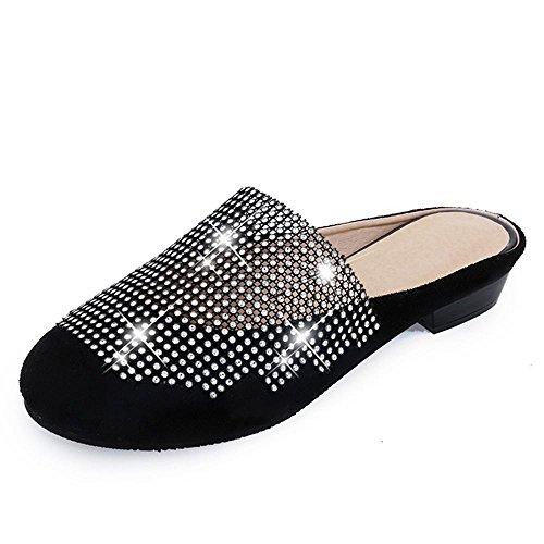 Heart&M Redonda de la manera del dedo del pie talón bajo del talón del cuadrado de las mujeres del Rhinestone Mosaico Negro / blanco sandalias de los deslizadores Black