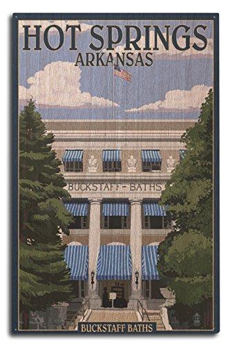 Lantern Press Hot Springs National Park, Arkansas - Buckstaff Bathhouse (10x15 Wood Wall Sign, Wall Decor Ready to - Sign Arkansas Wood