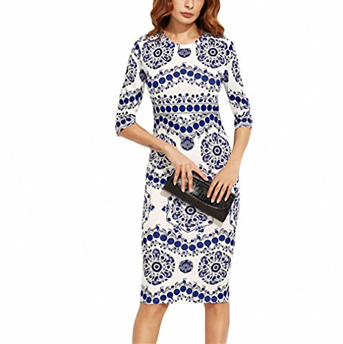Resilience Print Dress Women Dresses Blue and White Porcelain Round Neck Three Quarter Length Sleeve Midi Bodycon Pencil Deck out Multi M