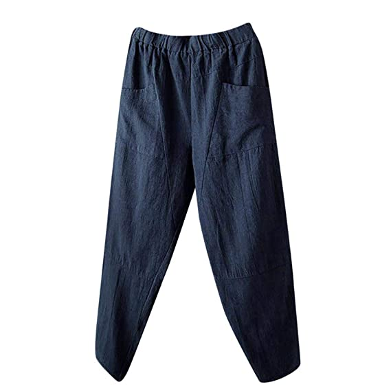 Pantalones Lino Anchos de harén para Mujer Otoño Invierno 2018 Moda PAOLIAN  Casual Pantalones Marlene Suelto 69aac0a2e5b6