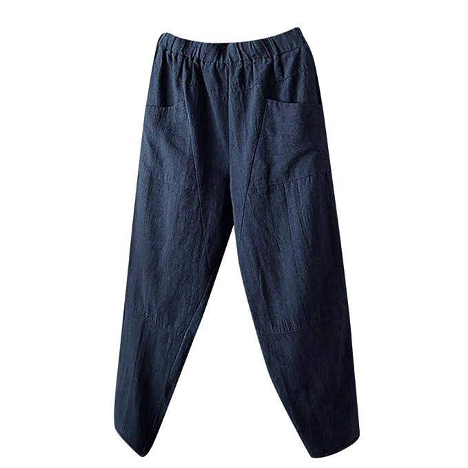 1c77cdfb0 Pantalones Lino Anchos de harén para Mujer Otoño Invierno 2018 Moda PAOLIAN  Casual Pantalones Marlene Suelto
