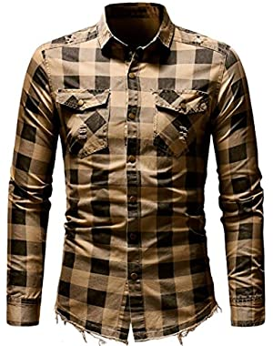 Men's Slim Fit Buffalo Plaid Oxford Shirt