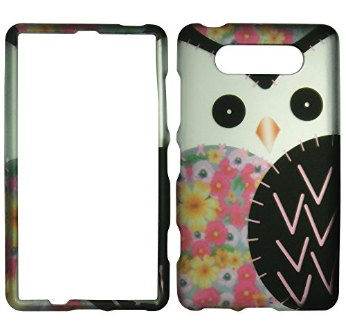 Pink Black Silver White Owl Nokia Lumia 820 (AT&T) Case Cover Hard Phone Case Snap-on Cover Rubberized Touch Protector Faceplates