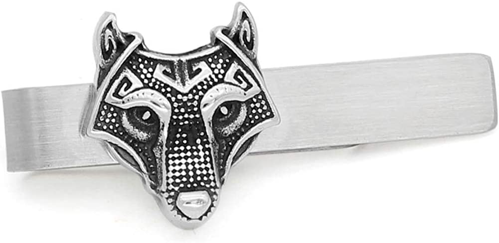 GuoShuang Stainless Steel Nordic Viking Norse Small Amulet Rune Wolf Head Tie Clips with Valknut Gift Bag