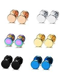 Thunaraz6 Pairs Stud Earrings for Men Women Ear Piercing Ear Plugs Tunnel 18G