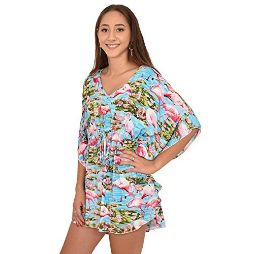 ISLAND STYLE CLOTHING Ladies Poncho Dress Blue Flamingo Floral Beach Cover, OS by ISLAND STYLE CLOTHING (Image #5)