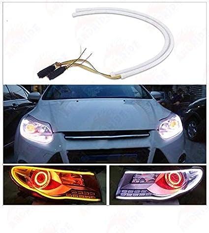 Andride 2X Tube Audi Style White-Amber Switchback Headlight Led Strip Drl  Daytime Light 60 Cm