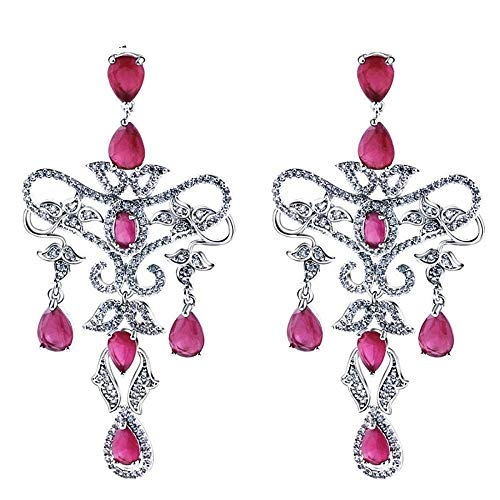 (QMM earring Pendant earrings sVintage Flower Tear Drop Earrings for Women Red and White Cz Crystals Rhodium Color Jewelry Girl Accessories Unique Party)