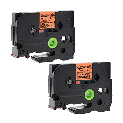 """Anycolor 2 Pack Label Tape Compatible for Brother P-touch TZe-B41 TZeB41 Black on Bright Orange Laminated Tape (3/4"""" x 16.4' 18mm x 5m)"""