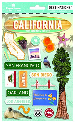 Paper House Productions Travel California 2D Stickers, 3-Pack ()
