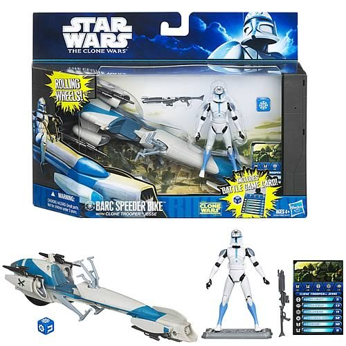 Star Wars Clone Wars Animated 2011 Figure and Vehicle BARC Speeder with Clone Trooper Jesse