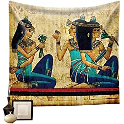 "Egyptian Tapestry Wall Hanging Tapestry Backdrop Cloth Egypt Egyptian Character Home Dorm Living Room Guest Room Decoration HYC02-B-US 59"" x 51""(150130 cm)"
