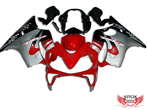 VITCIK (Fairing Kits Fit for Honda CBR600F4i 2004 2005 2006 2007 CBR600 F4i 04 05 06 07 Plastic ABS Injection Mold Complete Motorcycle Body Aftermarket Bodywork Frame (Red & Silver) A010 ()