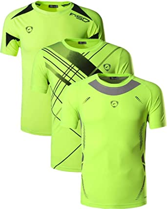 jeansian Men's 3 Packs Athletic Quick Dry Fit Short Sleeve Sport T-Shirt Tshirts Tee Shirt Tennis Golf Bowling LSL182