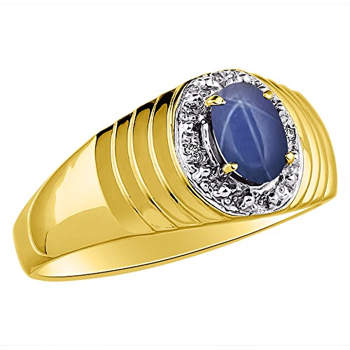 Genuine Diamond & Gorgeous Oval Blue Star Sapphire Ring set in Yellow Gold Plated Silver by Rylos