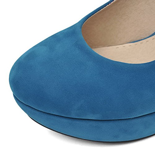 Toe Heels High AmoonyFashion Closed Womens Round Solid On Pull Blue Pumps Frosted Shoes ntWtScx