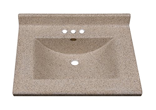 Imperial FW2522CAPSS Center Wave Bowl Bathroom Vanity Top, Cappuccino Matte Finish, 25-Inch Wide by 22-Inch Deep -