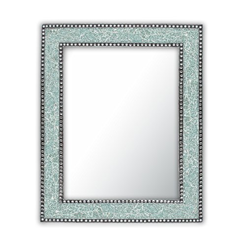Mint Green Crackled Glass Decorative Wall Mirror - 30X24 Mosaic Glass Wall Mirror, Vanity Mirror, Glamorous (Mint Green)