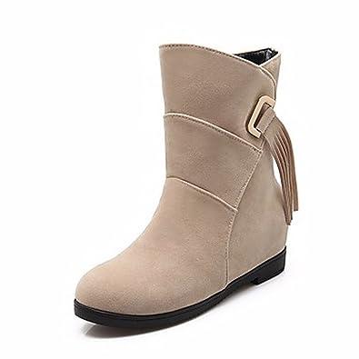 ZHUDJ Damenschuhe Frühjahr Herbst Komfort Snow Boots Runder Mid-Calf Stiefel Quaste (S) Für Casual Rot Schwarz, Rot, US 8/Eu 39/Uk6/Cn 39